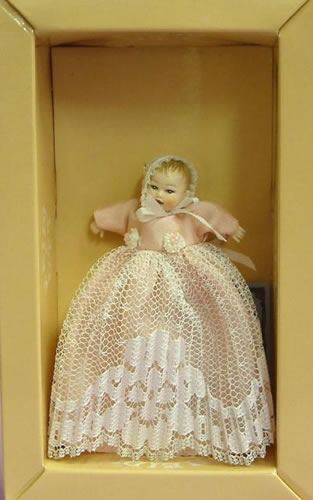 Heidi Ott Dolls House Doll, Baby in a Long Pink Gown (XB014)