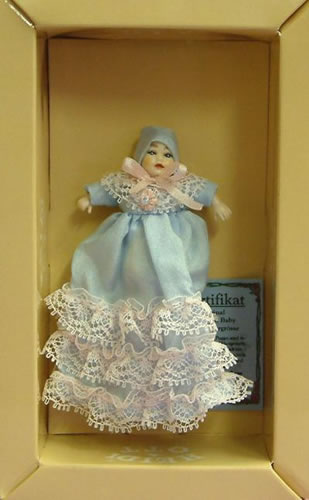 Heidi Ott Dolls House Doll, Baby in a Long Blue Gown (XB017)