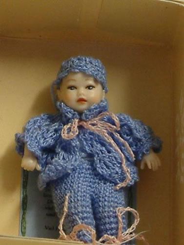 Heidi Ott Dolls House Doll, Baby Boy in a Blue Outfit (XB039)