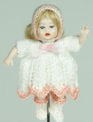 Heidi Ott Dolls House Doll, Baby Girl in a White Outfit (XB043)