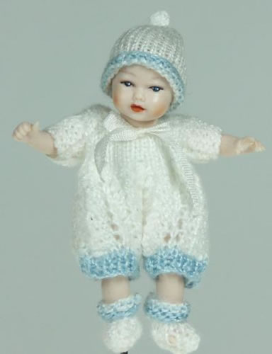Heidi Ott Dolls House Doll, Baby Boy in a White Outfit (XB044)