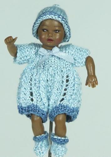 Heidi Ott Dolls House Doll, Baby Dark Skinned Boy Doll in a Light Blue Outfit (XB046)