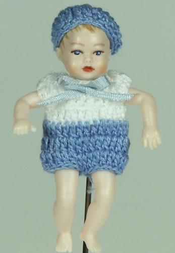 Heidi Ott Dolls House Doll, Baby Boy in a Blue & White Outfit (XB052)