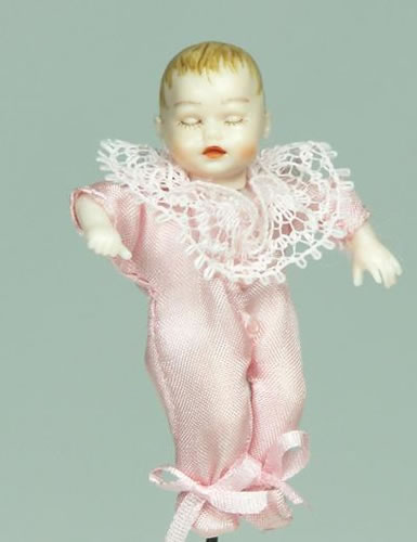 Heidi Ott Dolls House Doll, Sleeping Baby in a Pink Outfit (XB054)