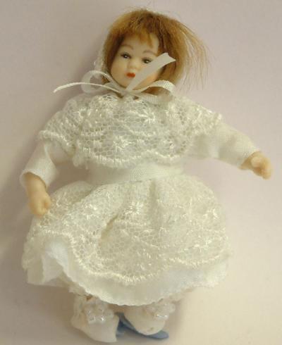 Heidi Ott Dolls House Doll, Toddler in a White Dress (XB504)