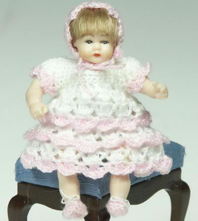 Heidi Ott Dolls House Doll, Toddler Girl in Pink & White Dress (XB508)