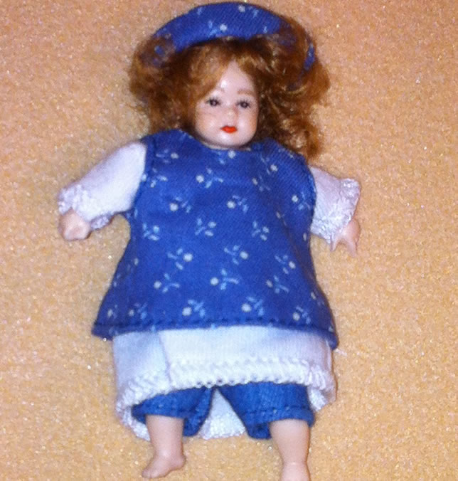 Heidi Ott Dolls House Doll, Toddler Girl in Blue (XB510)