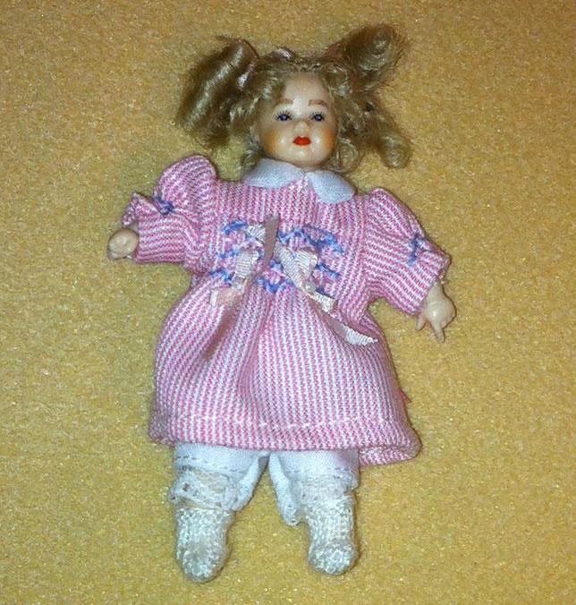 Heidi Ott Dolls House Doll, Toddler Girl in Pink Dress (XB511)