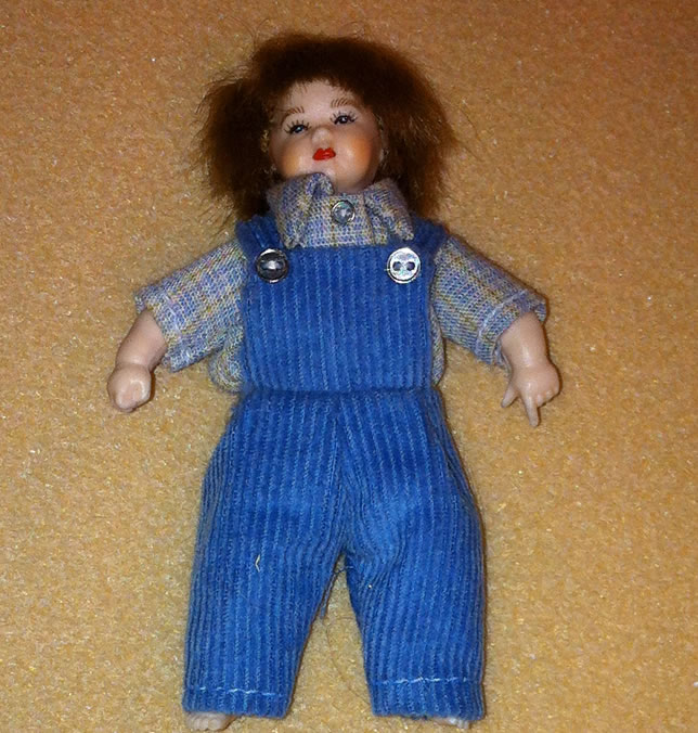 Heidi Ott Dolls House Doll, Toddler Boy in Blue (XB511)