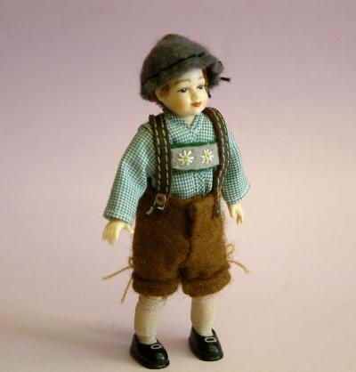 Heidi Ott Dolls House Doll, Young Boy in Swiss Clothes (XC008)
