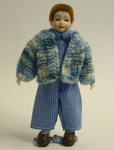 Heidi Ott Dolls House Doll, Young Boy in Blue Cardigan (XC012)