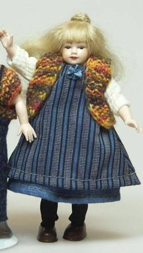 Heidi Ott Dolls House Doll, Young Girl in Blue Dress. (XC021)