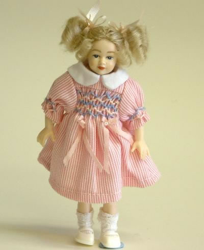 Heidi Ott Dolls House Doll, Young Girl in a Pink Dress (XC024)
