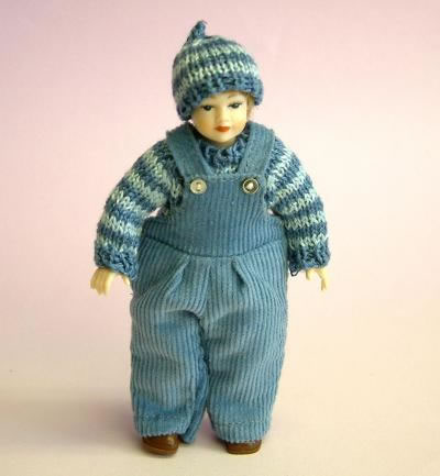 Heidi Ott Dolls House Doll, Young Boy in Blue Dungarees (XC025)