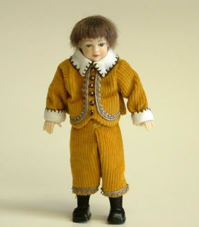 Heidi Ott Dolls House Doll, Young Boy in Rusty Coloured Suit. (XC026)