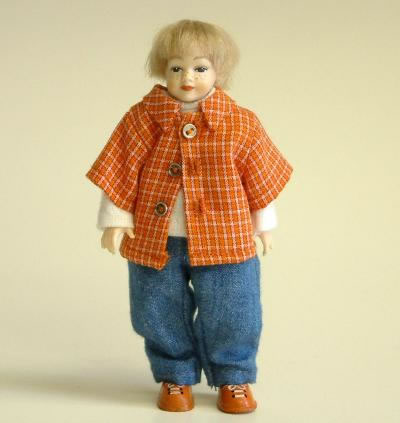 Heidi Ott Dolls House Doll, Young Boy in Blue and Red (XC028)