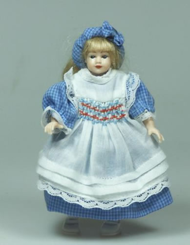Heidi Ott Dolls House Doll, Young Girl in Blue and White Dress (XC029)