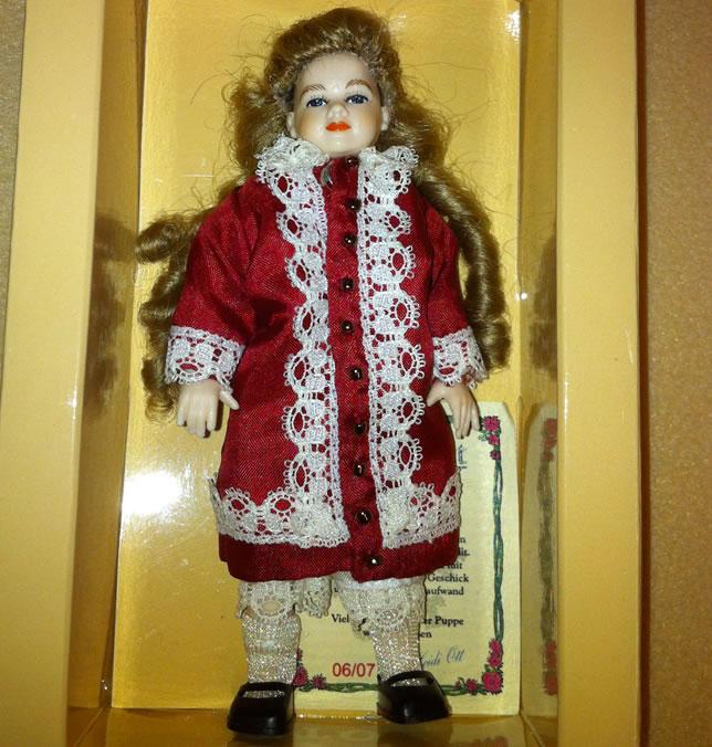 Heidi Ott Dolls House Doll, Girl in a Red Coat (XC036)