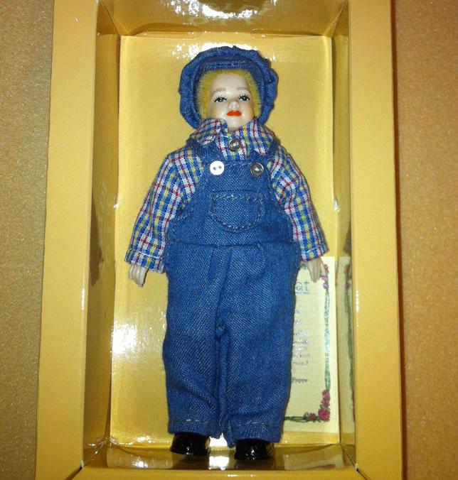 Heidi Ott Child Doll Boy in blue dungarees (XC037)