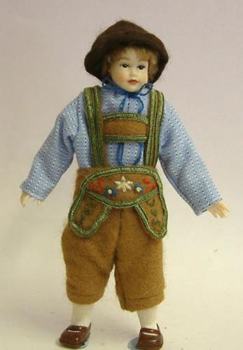 Heidi Ott Dolls House Doll, Teenage Boy in Swiss Clothes (XC501)