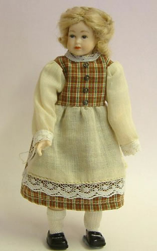 Heidi Ott Dolls House Doll, Teenage Girl in Brown & Cream Dress (XC503)