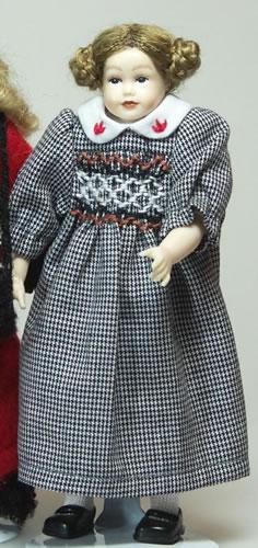 Heidi Ott Dolls House Doll, Teenage Girl in Check Dress (XC508)
