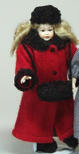 Heidi Ott Dolls House Doll, Teenage Girl in Red Coat (XC510)