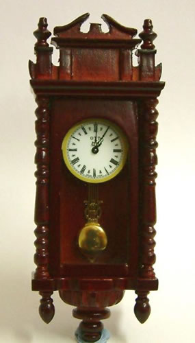 Mahogany Working Dolls House Wall Clock, Dolls House Miniature (XY403M)