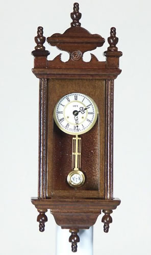Walnut Working Wall Clock, Dolls House Miniature (XY405W)