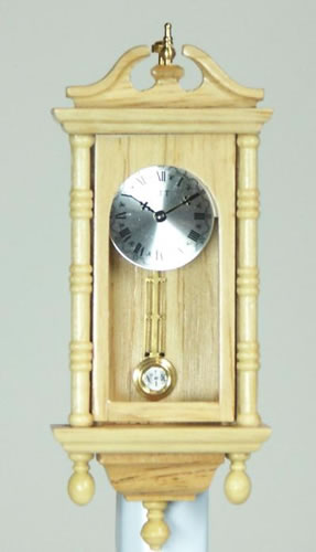 Pine Working Wall Clock, Dolls House Miniature (XY406O)