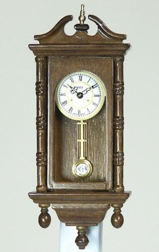 Walnut Wall Clock, Dolls House Miniature (XY406W)