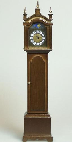 Working Grandfather Clock- Walnut, Dolls House Miniature (XY407W)