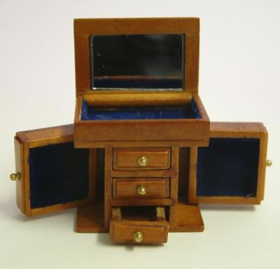 Dolls House Miniature Small Cherry Jewellery Cabinet (XY604C)