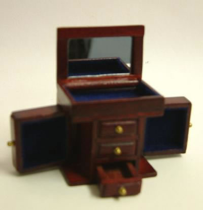 Dolls House Miniature Small Mahogany Jewellery Cabinet (XY604M)