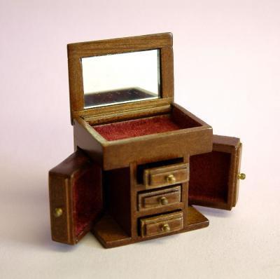 Dolls House Miniature Small Walnut Jewellery Cabinet (XY604W)