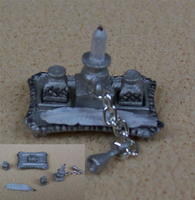 Dolls House Ink Stand (Silver), Dolls House Miniature (XZ276)