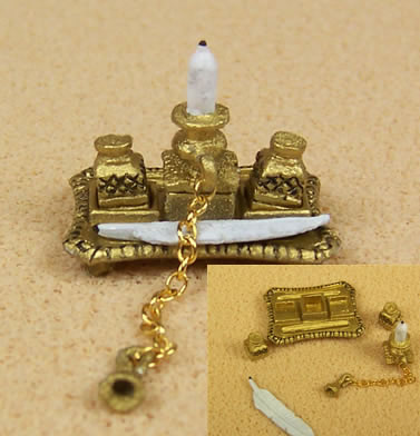 Dolls House Ink Stand (Gold), Dolls House Miniature (XZ277)