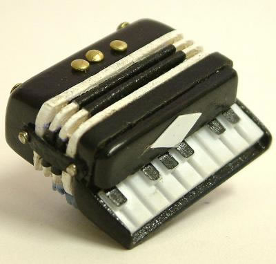 Dolls House Miniature Black Accordion (XZ308)