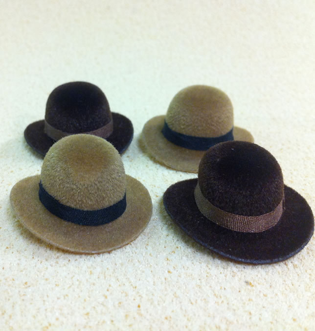 Set of 4 Dolls House dolls Brown Bowler Hats to fit Heidi Ott adults. (XZ780B)
