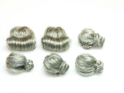 Pack of 6 Assorted Old Ladies Dolls Wigs, Dolls House Miniature (XZ807)