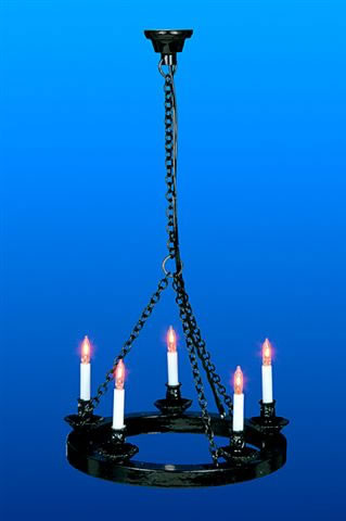 Dolls House Chandelier (5 Candle Cartwheel Tudor Light)) (YL6075)