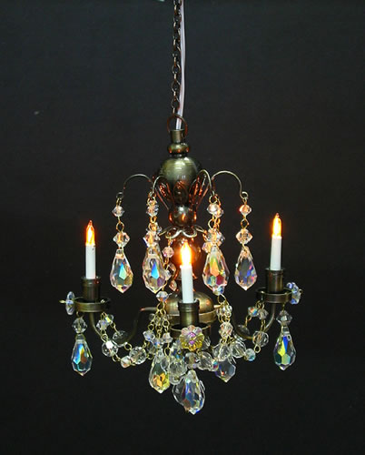 Dolls House Real Crystal Chandelier (3-Arm Nostalgic) (YL7002-1)