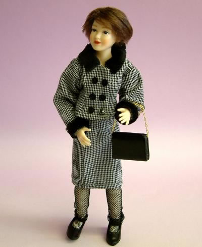Heidi Ott Dolls House Doll, Lady with Black & White Suit (X077)