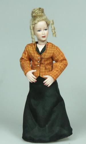 Heidi Ott Dolls House Doll, Lady in Orange and Black (X083)