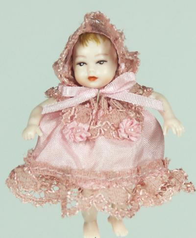Heidi Ott Dolls House Doll, Baby (Pink Frills) (XB050)