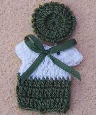 Babies Outfit- Green & White, Dolls House Miniature (XZ851)