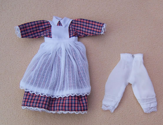 Red Check Maids Dress, Dolls House Miniature (XZ965)