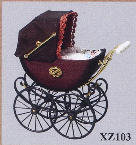Antique Pram in Bordeaux, Dolls House Miniature (XZ103)