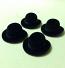 Set of 4 Dolls House dolls Black Bowler Hats to fit Heidi Ott adults. (XZ780S)