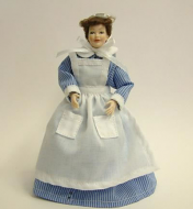Heidi Ott Dolls House Doll, Chamber Maid in Blue & White (X024)